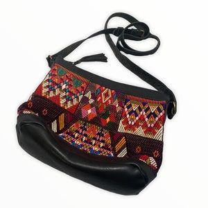 Guatemala Huipil Small Leather Sling Bag